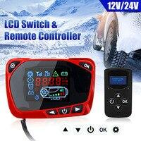 Interruptor de exibição do termostato do lcd com controle remoto para o aquecedor de ar diesel 12/24 v durável e prático