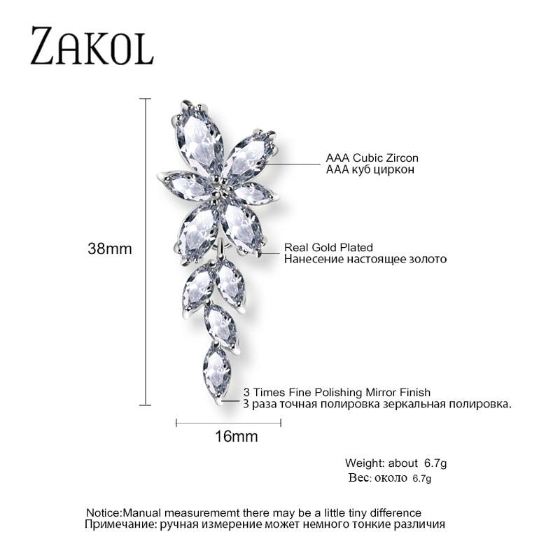 ZAKOL Marquise Cut Cluster Flower Zirconia Crystal Long Dangle Drop Earrings Shiny Leaf Bridal Wedding Jewelry for Women FSEP167
