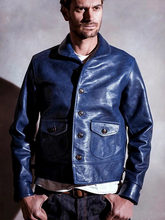 Genuine leather Italy oil wax blue Japan cowhide retro Amekaji real leather man thickness cow leather jackets Motorcycle Jacket