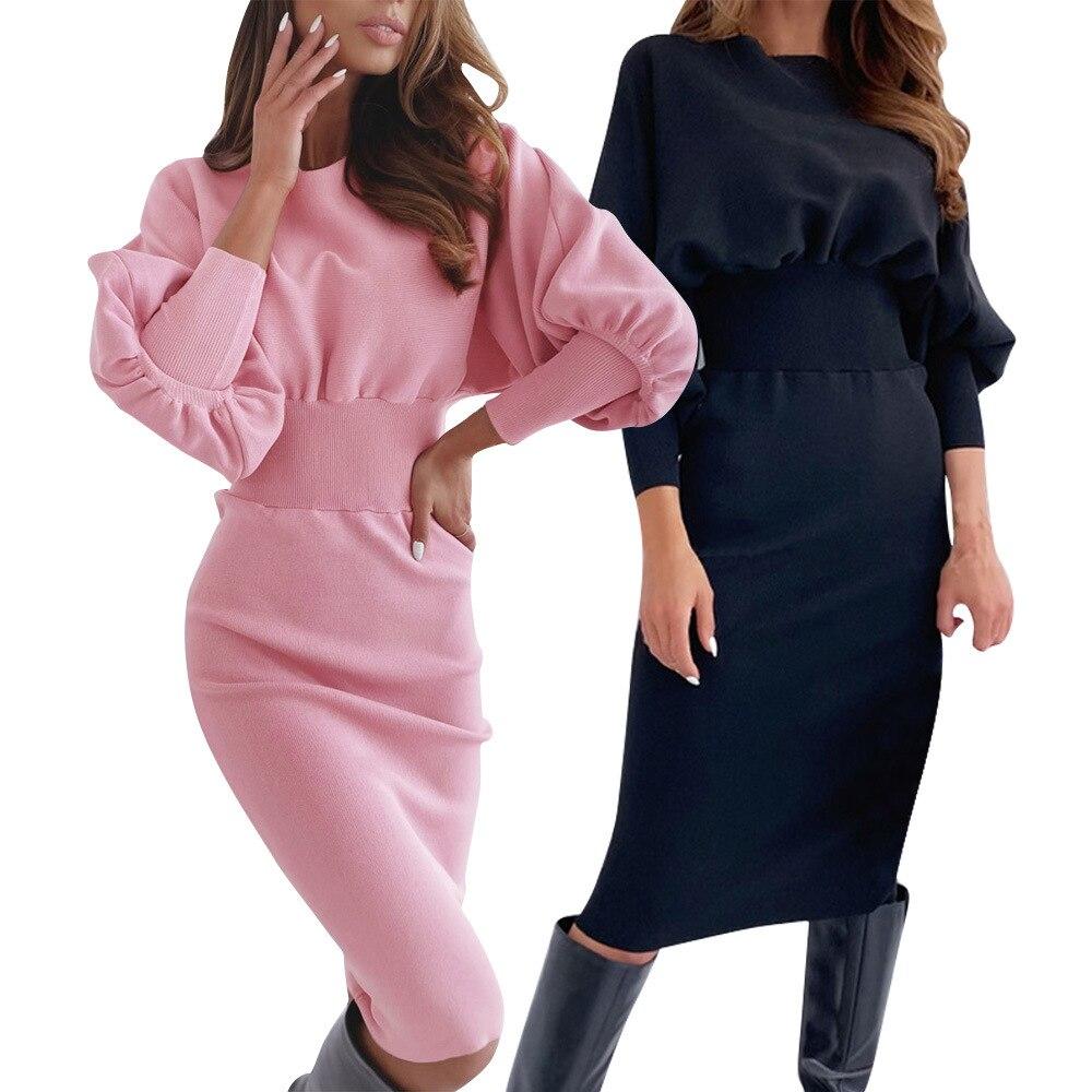 Vestido de primavera-otoño ceñido con mangas abullonadas, prenda elegante con cuello redondo, manga larga, cintura alta, ceñida a las caderas, ajustados