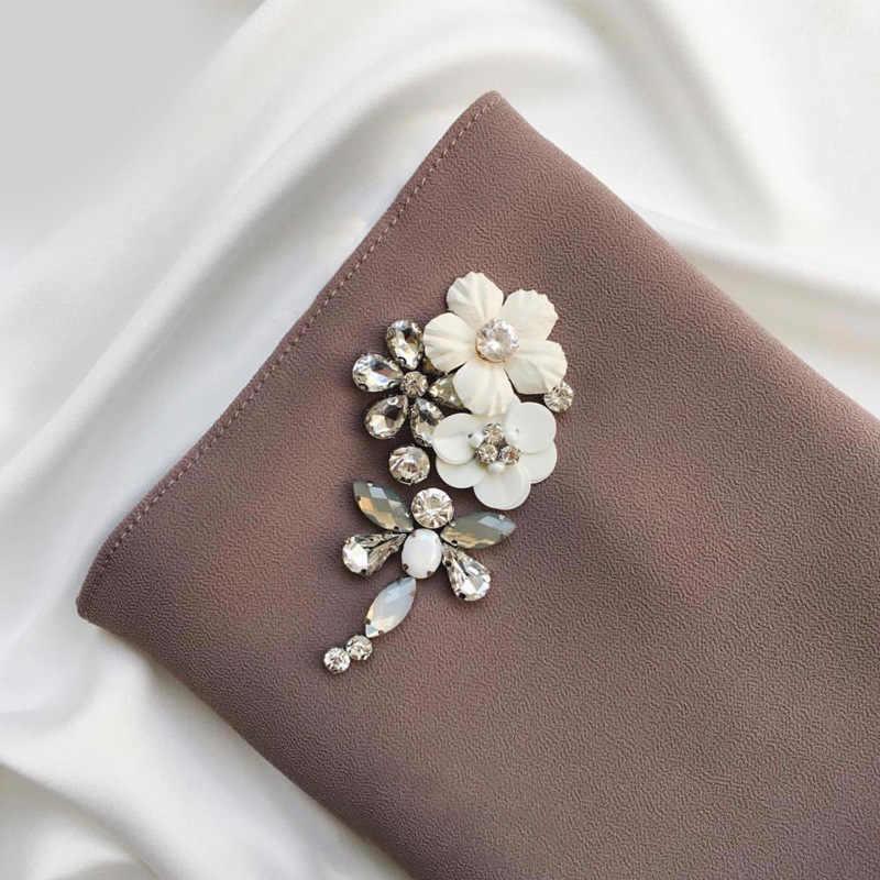 35 Colori Musulmano Donne Bubble Chiffon Hijab Sciarpa di Diamanti Glitter Musulman Scialli Foulard Islamico Jersey Stola Dello Scialle Avvolge