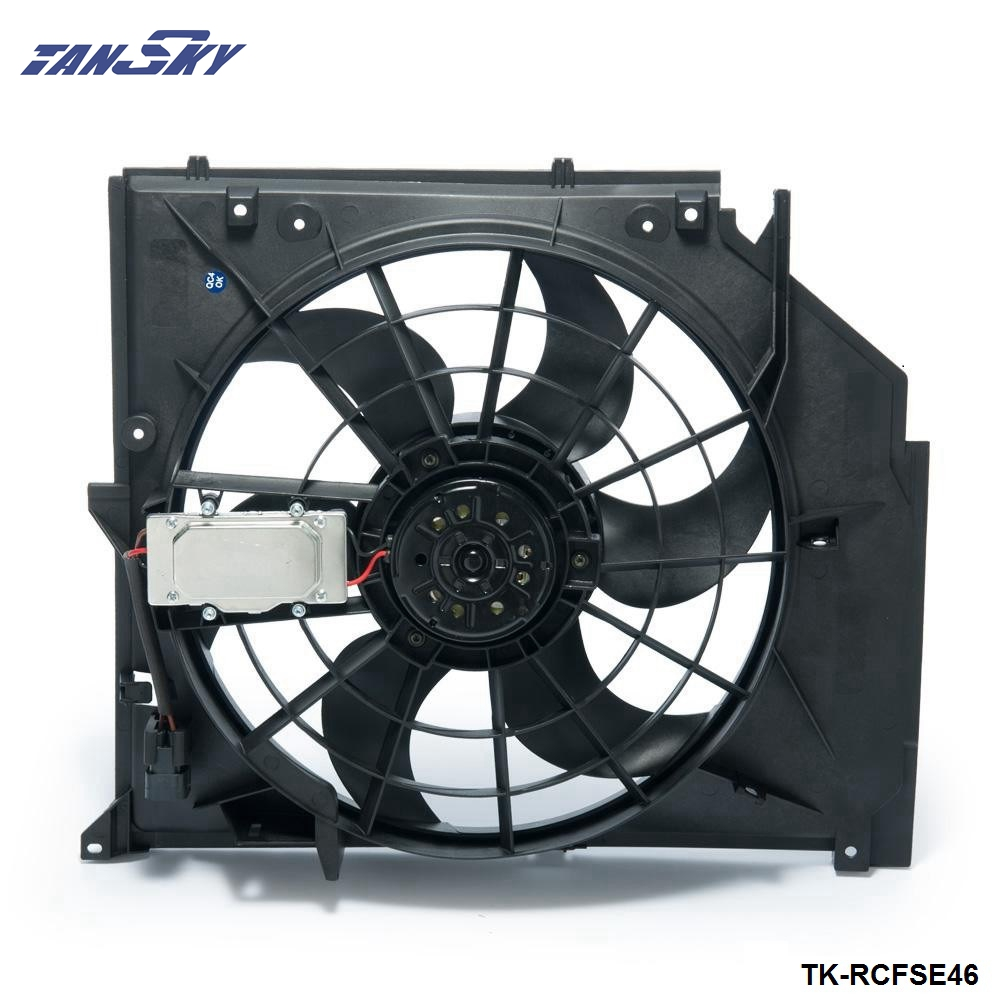 Car Replacement AC Condenser <font><b>Cooling</b></font> <font><b>Fan</b></font> Assembly (Brush <font><b>Motor</b></font>) For <font><b>BMW</b></font> 3 Series E46 99-06 17117510617 TK-RCFSE46 image