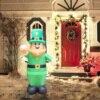 Luminous Inflatable Model Doll Saint Patrick's Day Garden Decoration Blow Up Leprechaun Irish Oktoberfest Clover Inflatable Doll 3