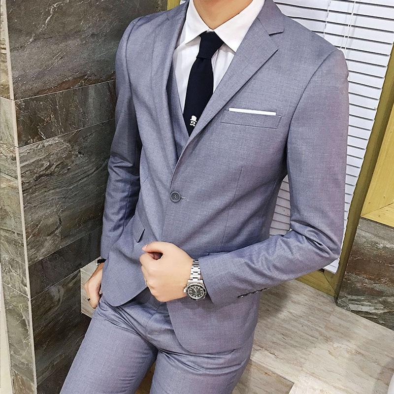 Suit Men Three-piece Set Korean-style Slim Fit Autumn Casual Suit Groom Marriage Handsome Groomsmen Group Formal Dress