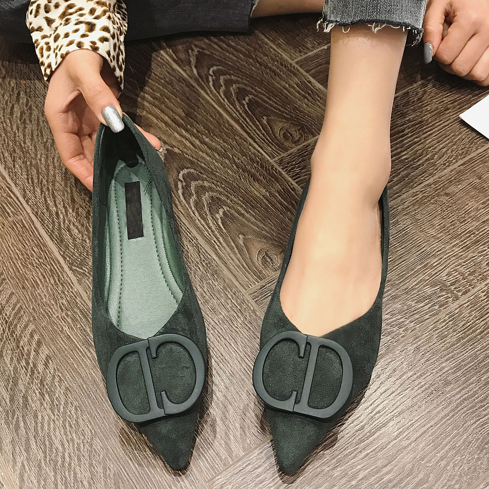2020 NEW Brand Women Flats Spring Autumn Solid Button Pointed Toe Woman Ballet Flats Shoes Comfortable Office Ladies Work Shoes
