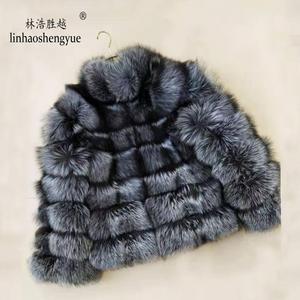 Image 4 - Linhaoshengyue 패션 여성 실버 폭스 모피 코트 여성 일반 섹션 가로 스트 라이프 폭스 모피 코트 여성 스탠드 칼라
