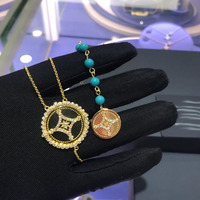 UMGODLY Luxury Brand Tag Turquesa Long Necklace Cubic Zirconia Stars Tassel Green Beads Pendant Fashion Women Jewelry Gift