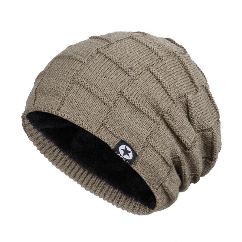 Зимняя мужская шапка с пятизвездочными звездами, шарф плюс бархатная мужская вязаная шапка, Теплая Лыжная маска, маска, головной платок, шапка, высококачественный хлопковый нагрудник, модная новинка - Цвет: Khaki-2