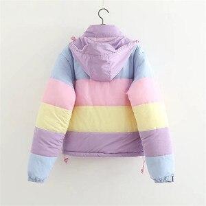 Image 2 - 여성 겨울 레인보우 코트 오버 사이즈 파커 캐주얼 따뜻한 코튼 패딩 자켓 스트라이프 봄 가을 의류 Splicing Fluffy Parka