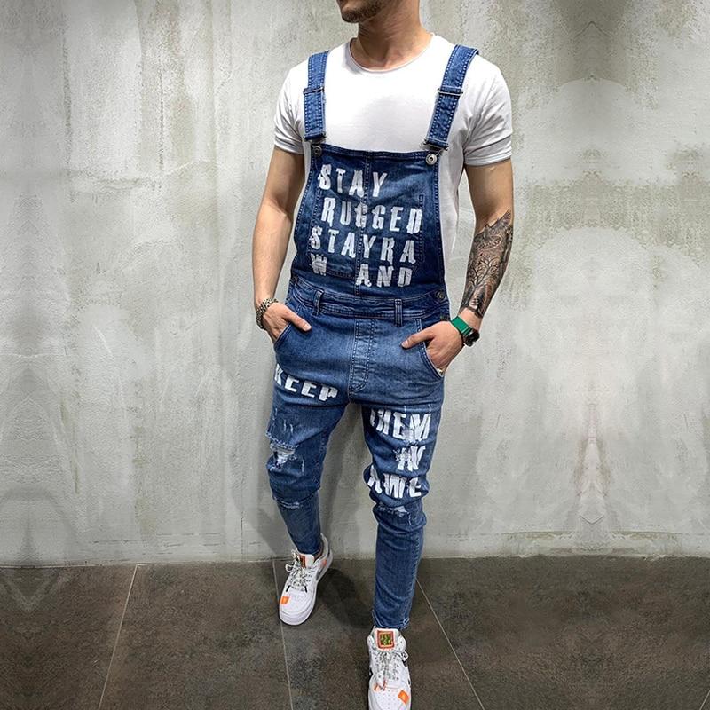Hip Hop Fashion Men's Ripped Jeans Jumpsuits Hi Street Distressed Denim Bib Overalls For Man Suspender Pants Size S-XXL