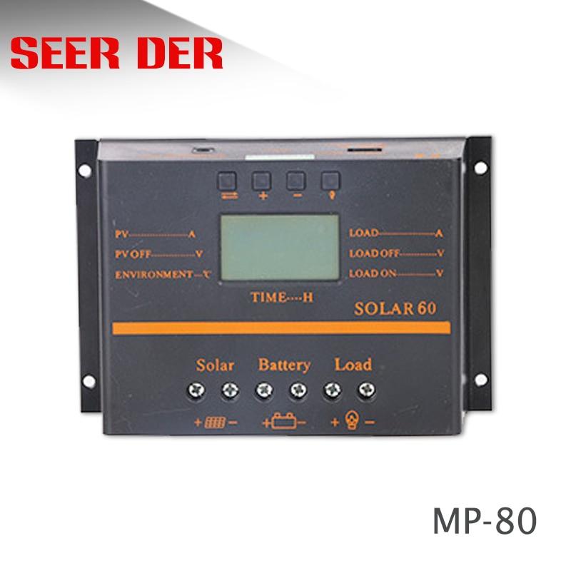 40a 50a 60a 80a controlador de carga solar display lcd pv painel carregador bateria regulador 12v
