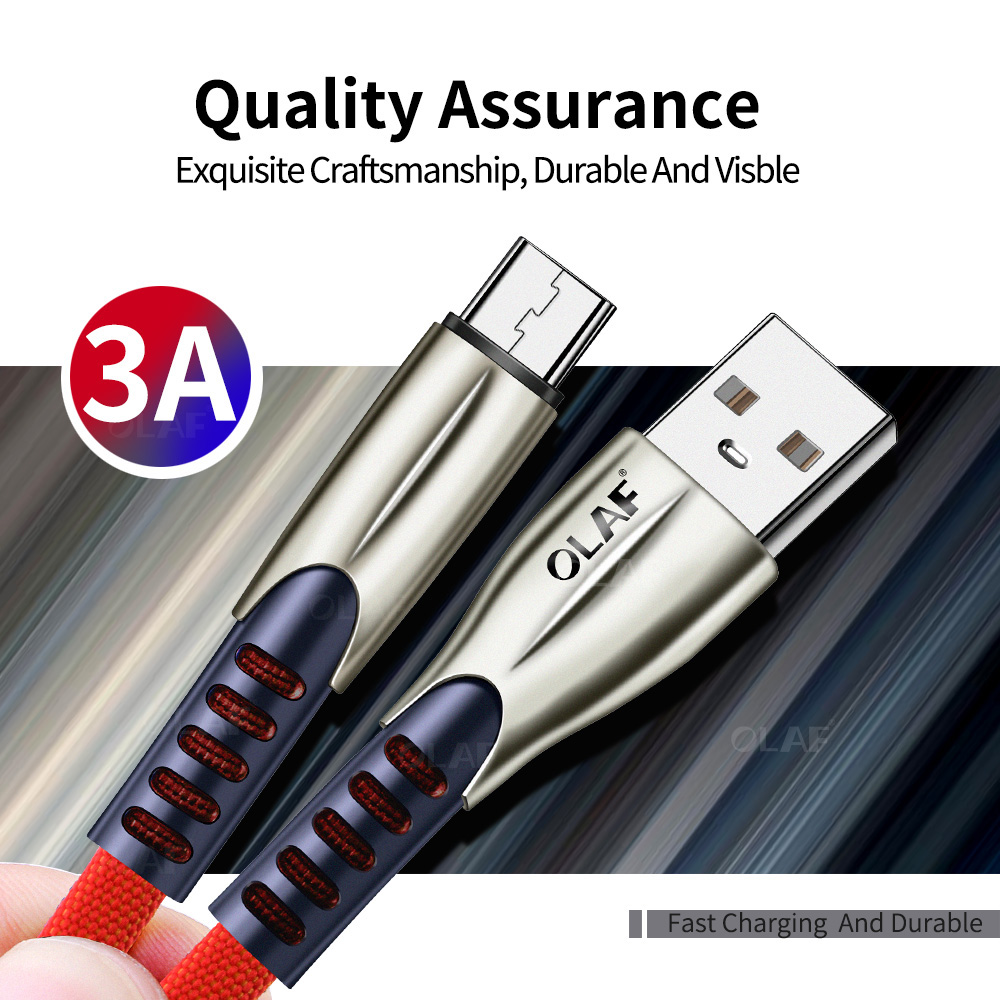 OLAF 1M 2M 3m Micro USB Cable 3A Zinc alloy Fast Charging For Xiaomi Android Mobile Phone Data Cable for Samsung Micro Charger Mobile Phone Accessories Mobile Phone Cables Smartphones
