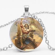2019 New Greek Sacred Wax Mythology Raytheon Zeus Glass Convex Round Pendant Necklace Sweater