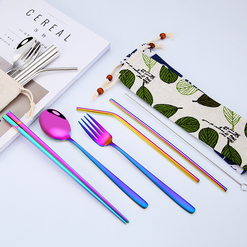Hot Sale Stainless Steel Cutlery Set Western Portable Chopsticks Spoon Fork Dinner Adult School Travel Tableware