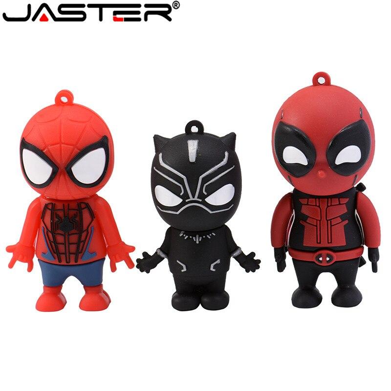 Jaster USB 2.0 Flash Drive Cartoon Pendrive Superhero Spider-man Deadpool Black Panther 4GB 8GB 16GB 32GB 64GB Creative Toy Gift