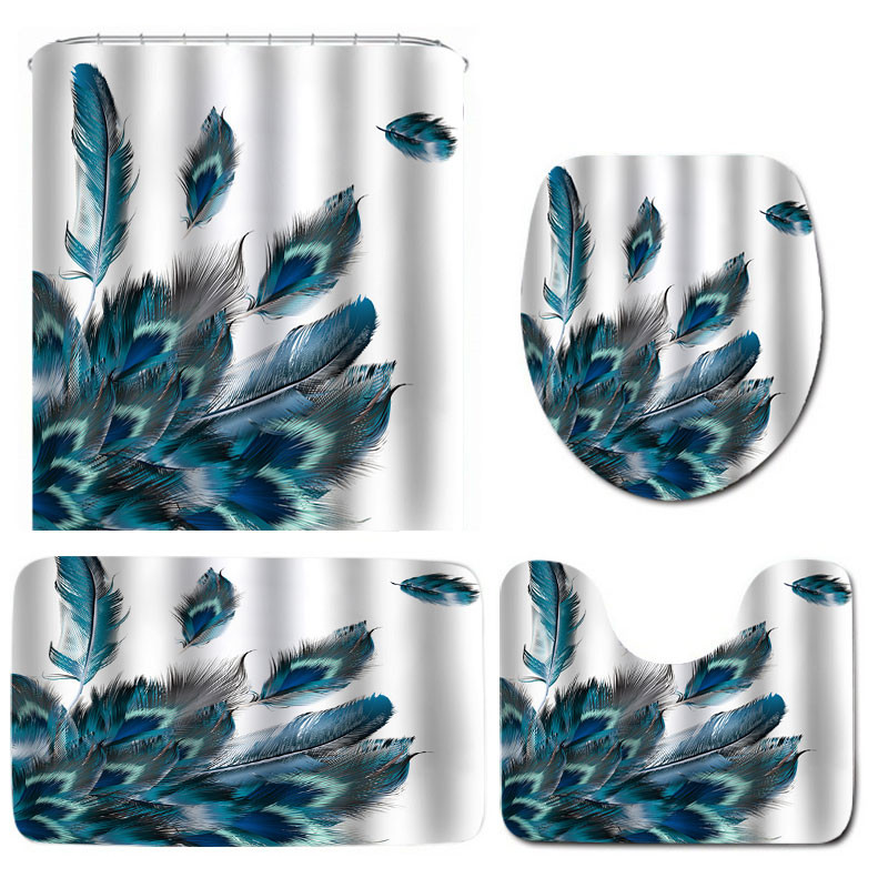 Feather Waterproof Non-Slip Bathroom Shower Curtain Toilet Cover Mat Rug Set