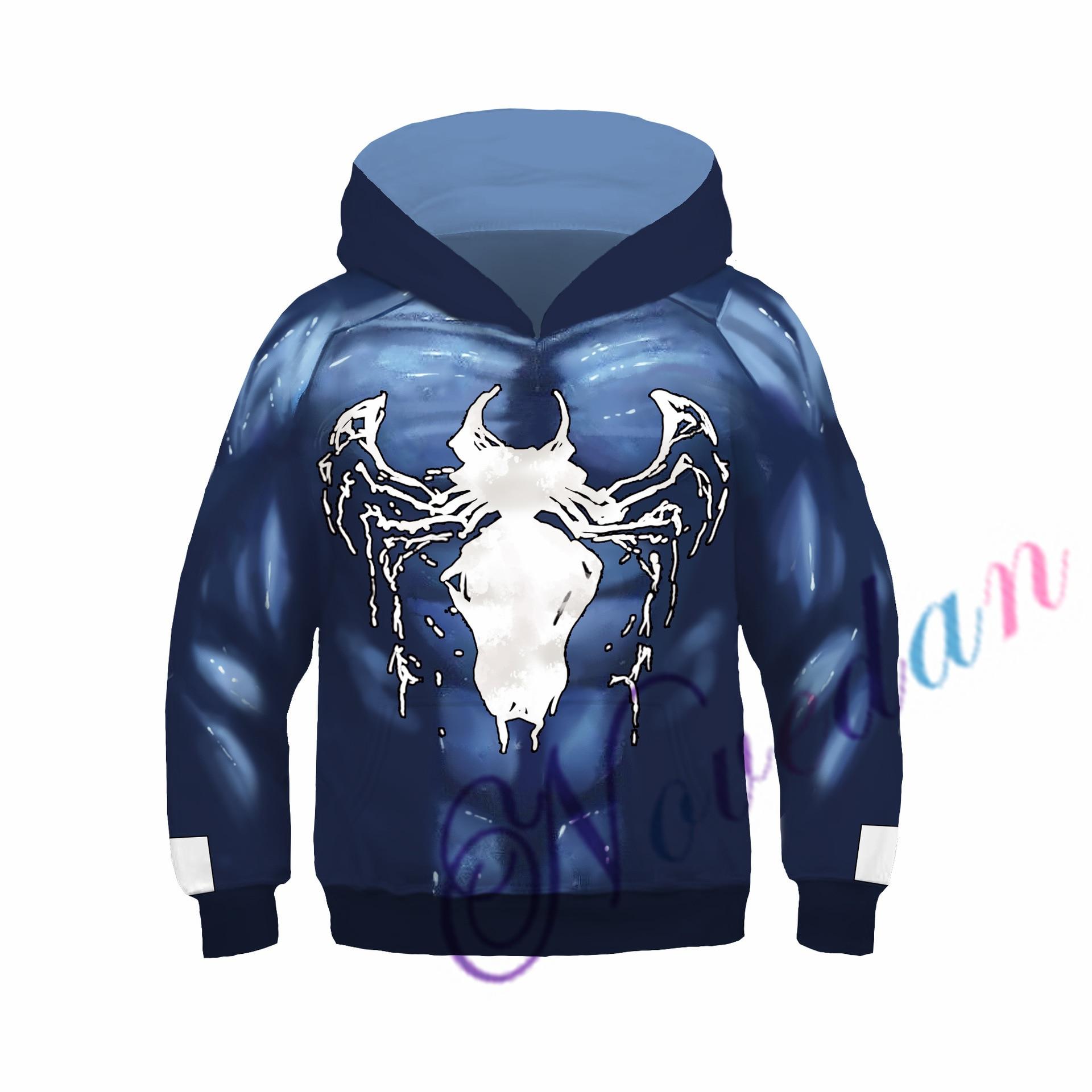 Kids Boys Hooded Endgame Cosplay Venom Man Sweatshirt Hoodie Costume Superhero Streetwear 3