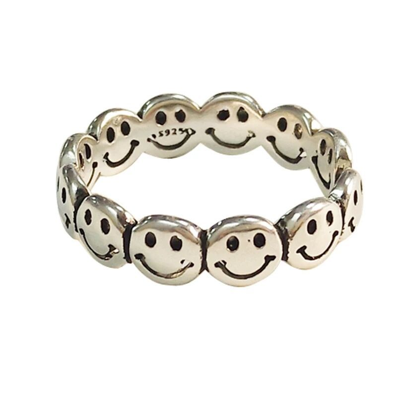 Vintage Ancient Silver Color Happy Smiling Face Open Rings for Women Punk Hip Hop Adjustable Ring Fashion Jewelry Best Gift
