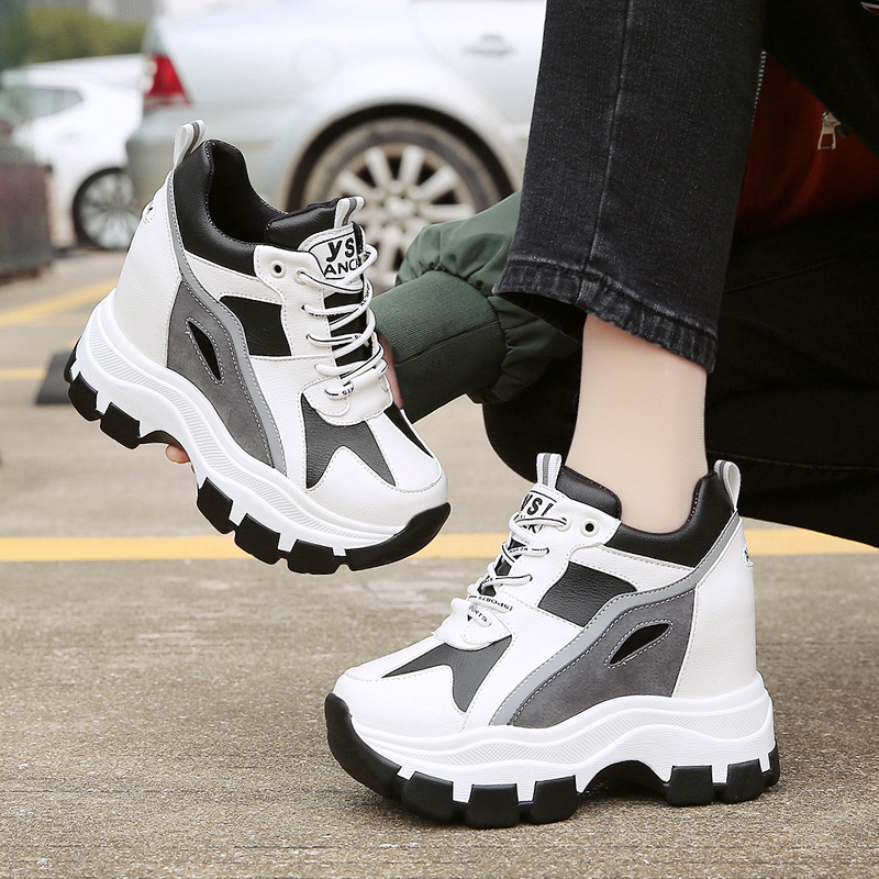 New 2020 Spring Hidden Heel Women's Sneakers High Platform Casual Shoes Lace-Up 8CM Women Breathable Wedge Shoes Zapatos Mujer