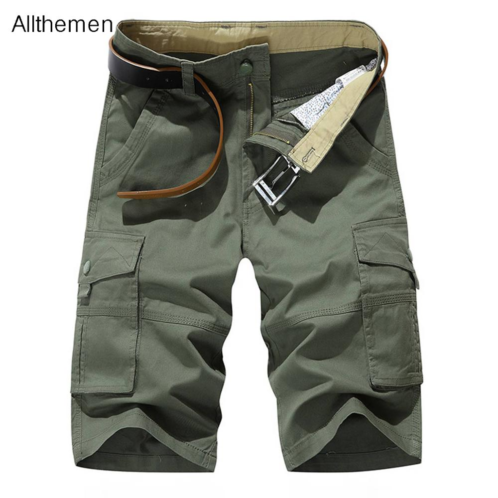 Allthemen Men Military Cargo Shorts Army Tactical Shorts Men Loose Casual Short Pants Trousers Solid 2 Colors Pockets Fashion