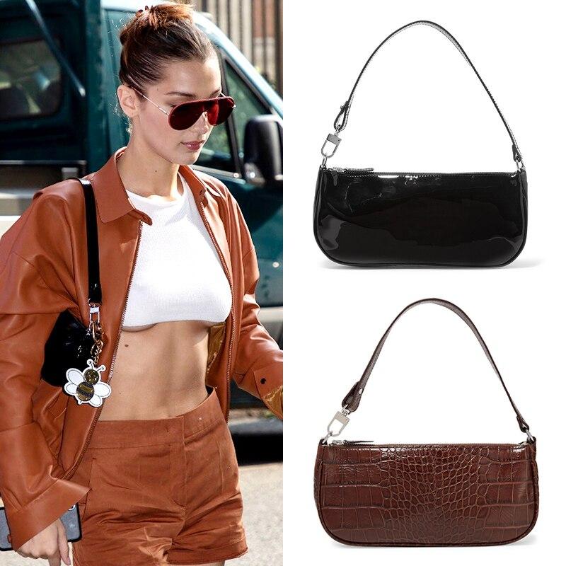 Kendall Jenner Bella Hadid Same Style Vintage Alligator Baguette Design Handbags Purses PU Leather Shoulder Bag Women Mini Bag