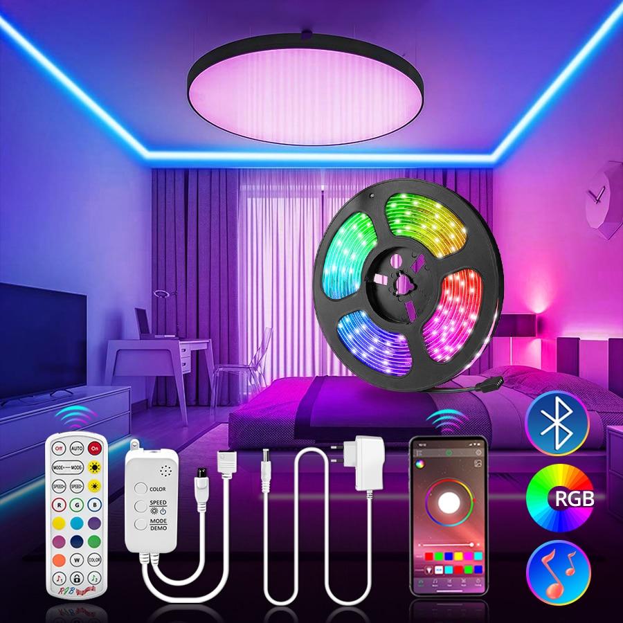 Faixa de led 5050 12v música sincronização rgb luz controle bluetooth fita flexível 5m 10m 15m 30 led natal luz ambiente backlight parede