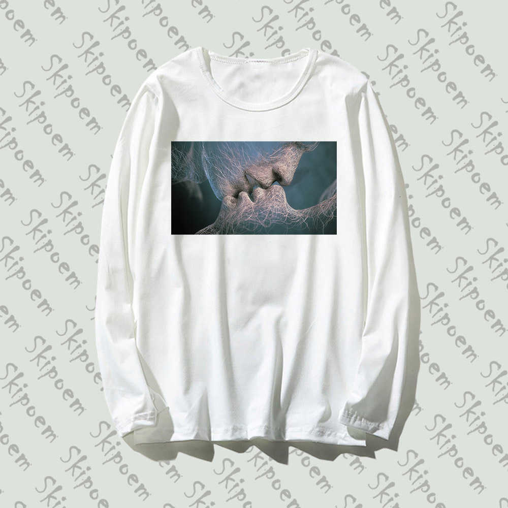 Casal beijo estrelado t-camisa feminina estética kawaii estilo coreano gótico punk plus size algodão manga longa camiseta femme