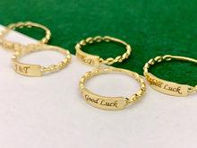 18K Gelbgold Schmuck (AU750) ins Designer Kette Ring Minimalistischen Stil Gestapelt Mit Platz Platte Können Beengraved