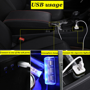 Image 4 - for Peugeot 2008 armrest box universal car center console caja  modification accessories double raised with USB No assembly