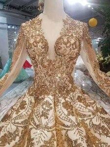 Image 5 - Robe de mariée dorée Vintage à manches longues, tenue de mariée luxueuse de bonne qualité à manches longues, longueur de plancher, perles, 2020