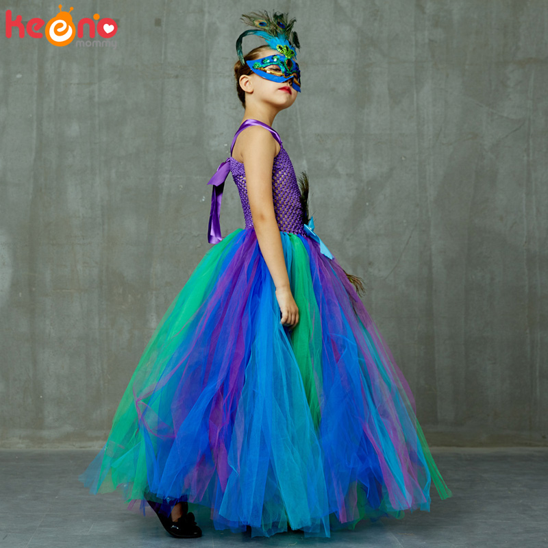 High-end Girls Peacock Princess Tutu Dress with Mask Flower Feathers Girl Ball Gown Dresses Tulle Kids Party Pageant Costume 4