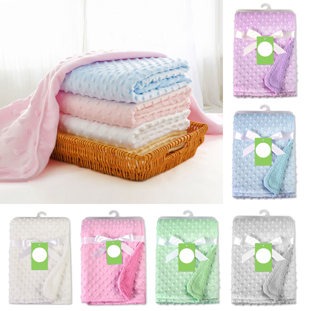Baby Blankets Newborn Warm Fleece Thermal Soft Stroller Sleep Cover Cartoon Beanie Infant Bedding Swaddle Wrap Kids Bath Towel
