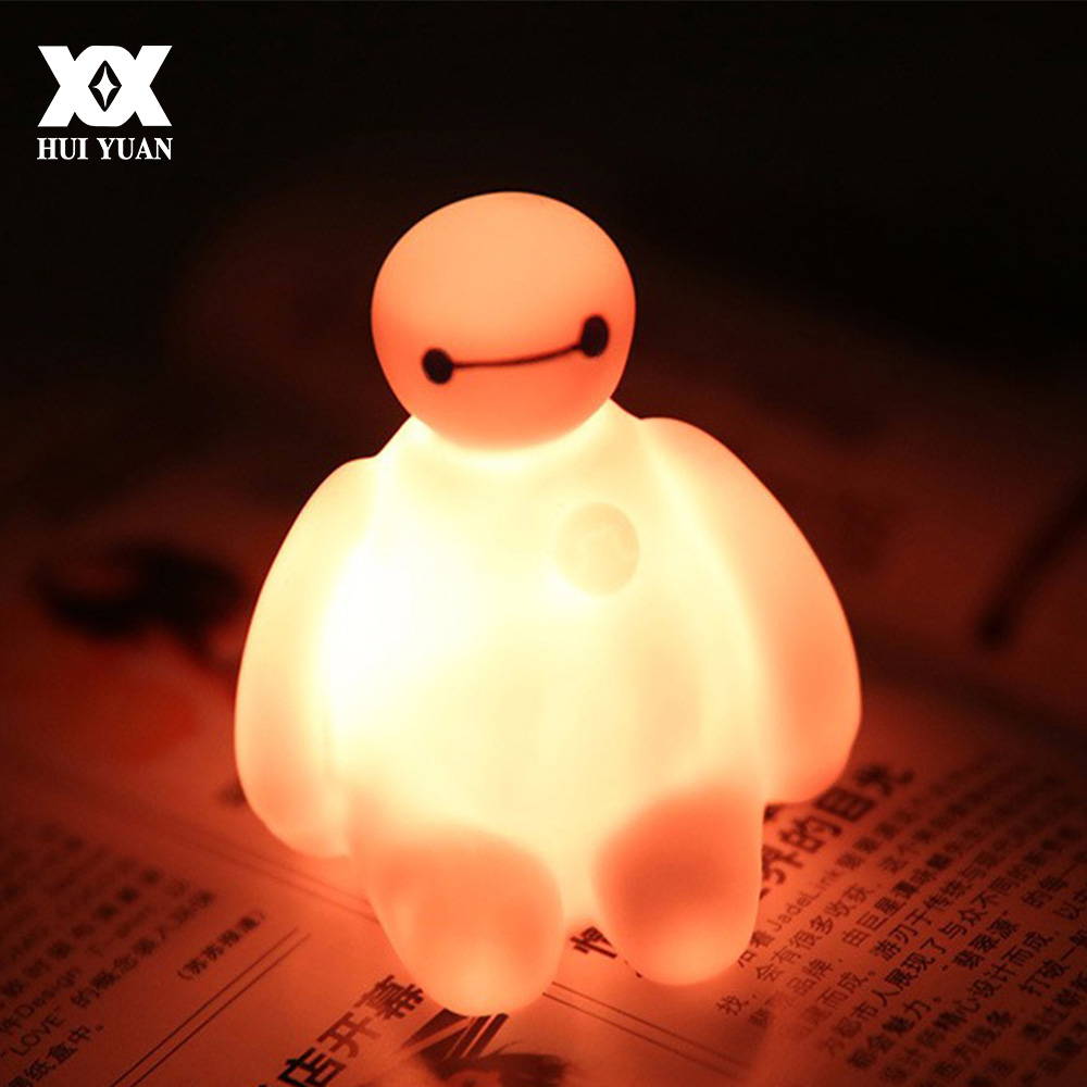 LED Creative Lovely Baymax Lamp Color Change Cartoon Night Light Children's Gift Toy Lights Soft Silicone Mini Emergency Lamp