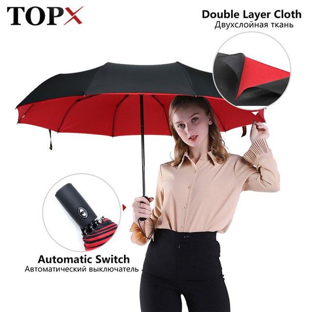قوي يندبروف مزدوجة التلقائي 3 مظلة قابلة للطي الإناث الذكور 10K سيارة فاخرة كبيرة المظلة المطر النساء الرجال الأعمال المظلات