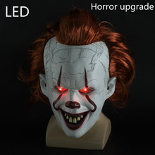 LED Scary Stephen King Clown Silicone Back Soul Mask Cos Head Set Horror Joker Halloween Cosplay