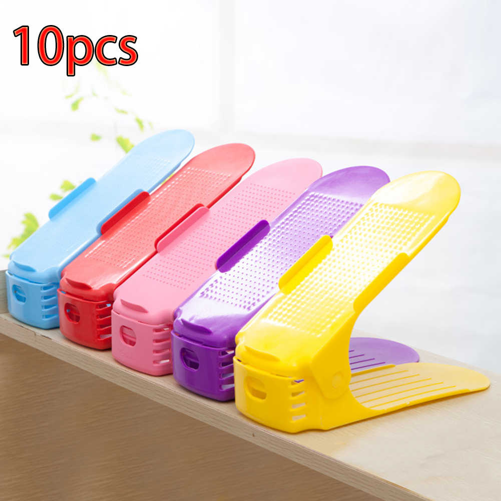 10pcs Double Layer Shoe Rack Adjustable Shoe Organizer Modern Storage Space Saver Shoes Organizers Stand Shelf for Living Room