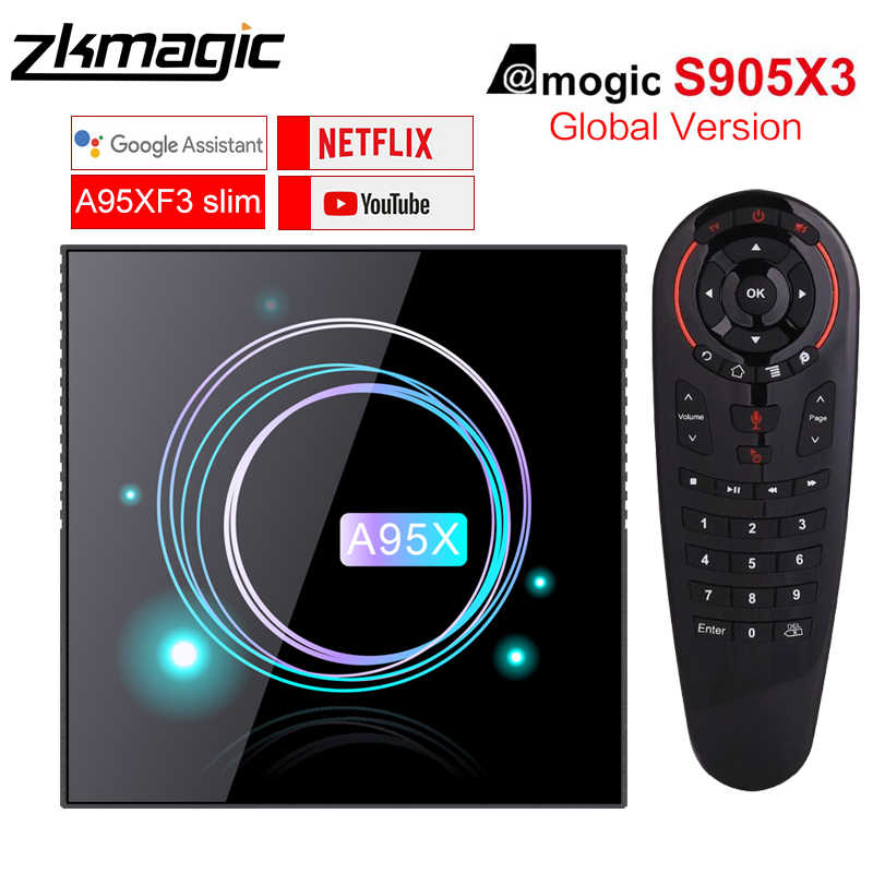Google Play Tv box Android 9.0 Amlogic S905X3 bOX 4GB 32GB 64GB Smart tv box 8K Box 2.4/5.0G WiFi Android Tv box A95XF3 mince