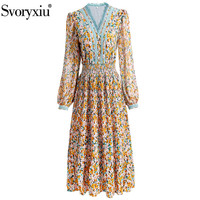 Svoryxiu Elegant Flower Print Bohemian Holiday Dress Women's Sexy V Neck Elastic Waist Lace Embroidery Autumn Runway Dress
