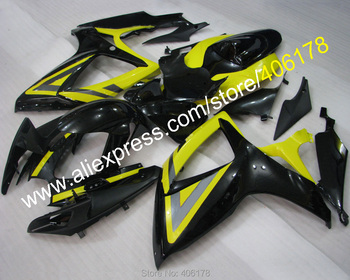 Aftermarket Kit GSXR600 GSXR750 06 07 fairing For K6 2006 2007 Black and Yellow Race Fairings (Injection molding)
