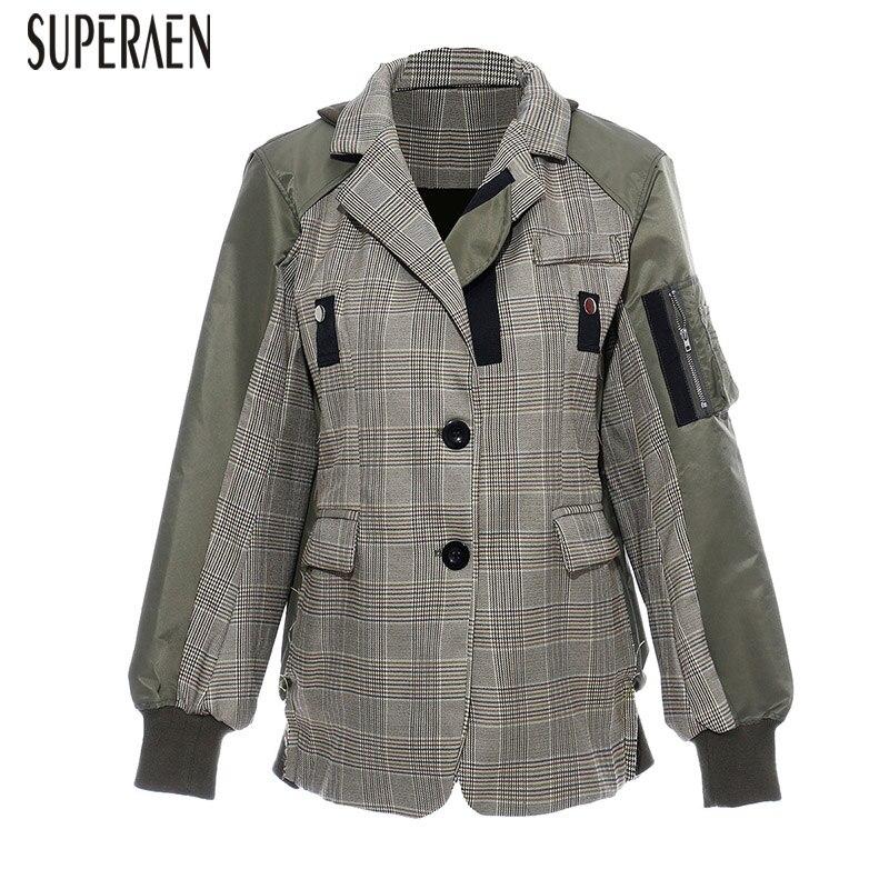SuperAen Europe Plaid femmes veste coton sauvage décontracté mode dames veste à manches longues automne nouveau 2019 femmes vêtements