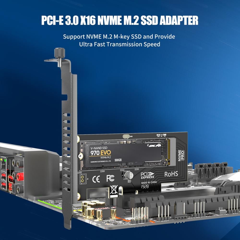 AMPCOM M.2 NVMe SSD Express Card M Key to PCIE 3.0 X4 Adapter External SSD Support 230-2280 Size M.2 FULL SPEED 2