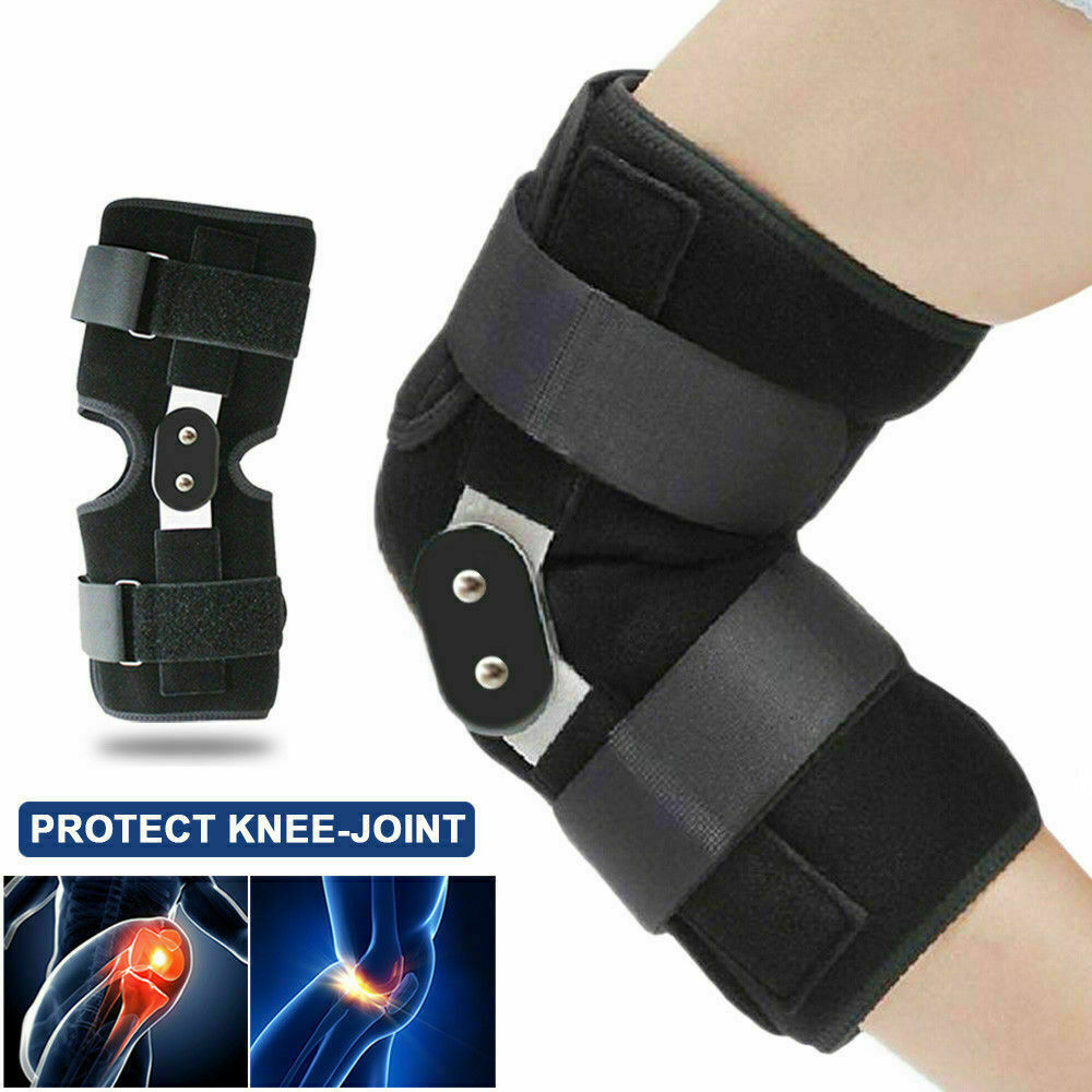 2019 Aluminium Adjustable Medical Hinged Knee Orthosis Brace Support Ligament <font><b>Sport</b></font> <font><b>Injury</b></font> Orthopedic Splint Knee Pads Outdoor image
