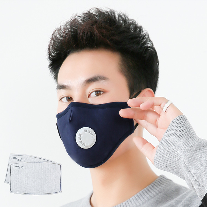 Cotton Mouth Face Masks N95 PM2.5 Respirator Breathing Mask Fabric Filter Reusable Anti Dust Black Fashion