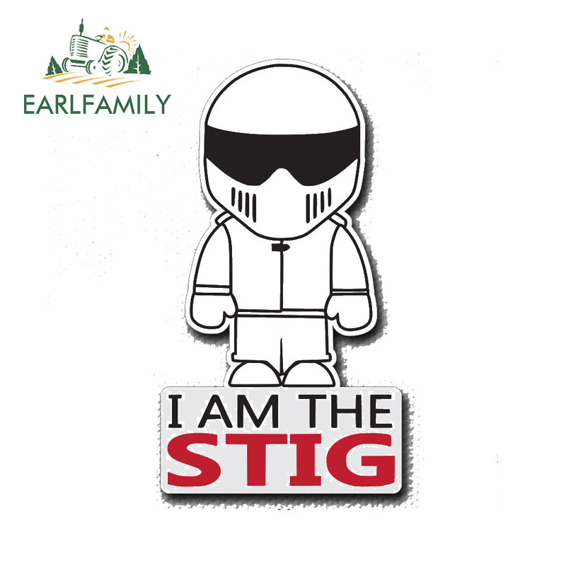 EARLFAMILY 13cm X 7.2cm I AM THE STIG Decal Vinyl Sticker TOP GEAR Funny JDM Decals Car Sticker Motorcycle Decoration Graphic