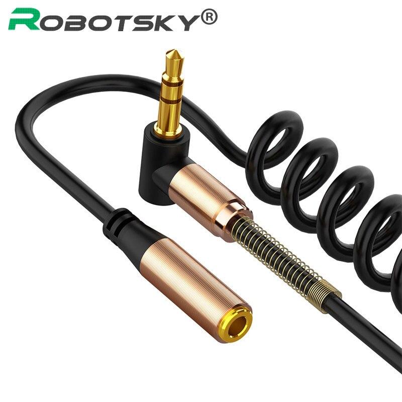 3.5mm rallonge câble audio 90 degrés ressort 3.5mm Jack Aux câble 1.5M pour casque haut-parleur de voiture Xiaomi Huawei Samsung