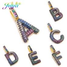 Juya DIY шнур кожаный вывод многоцветный Циркон с радужным блеском золото 26 буквы алфавита кулоны с надписями поставки