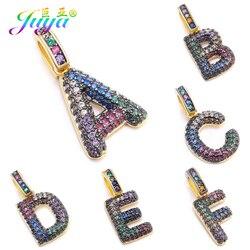Juya DIY Bracelet Necklace Making Findings  Multicolor Rainbow Zircon Gold 26 Alphabet Initial Letter Charms Pendant Supplies