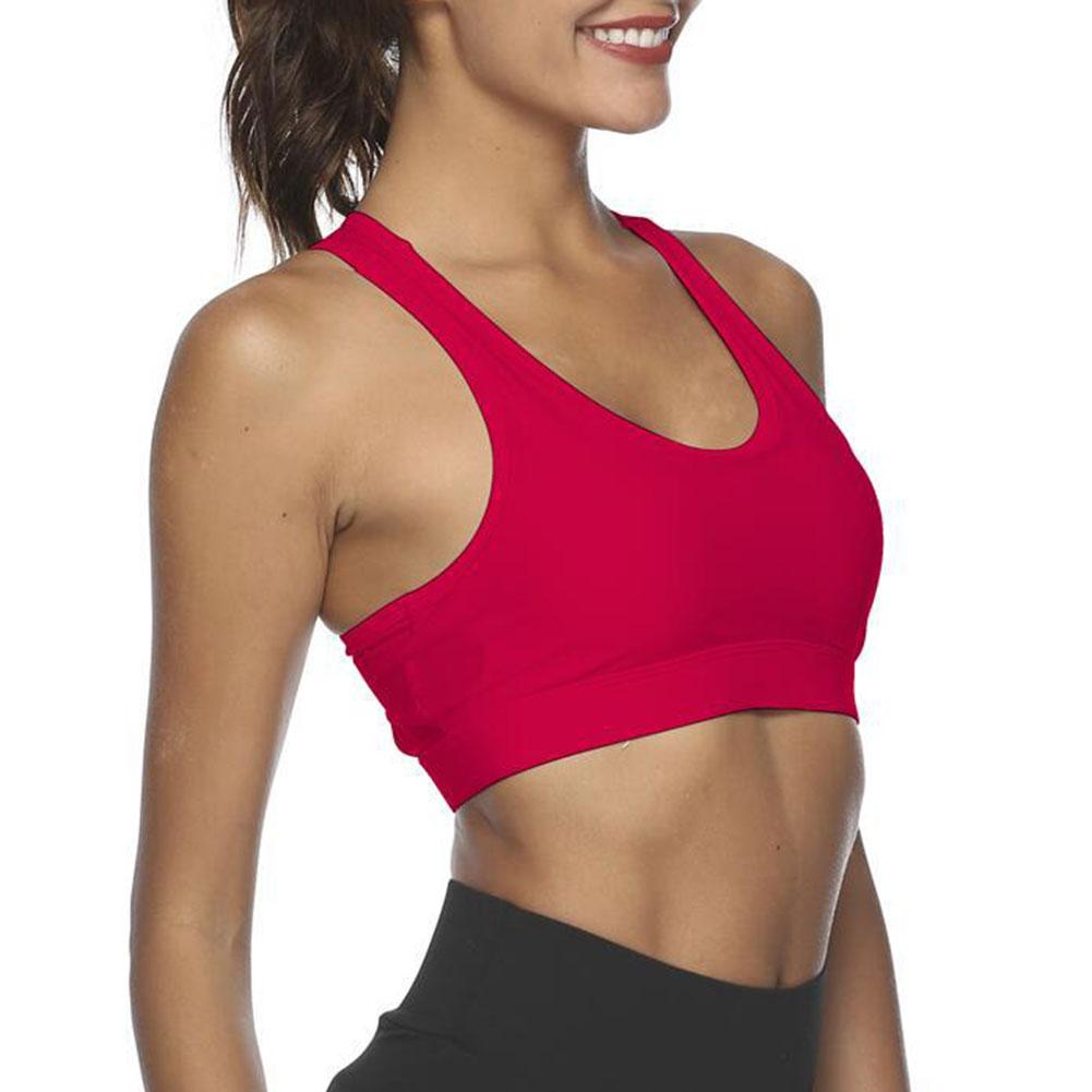 Womens Yoga Sports Running Bra Crop Top Vest Stretch Bras Shaper Padded UK Size