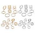 Минималистичные кольца золотистого и серебряного цветов для женщин, 2019 панковские геометрические круглые кольца с кристаллами, женские мо...