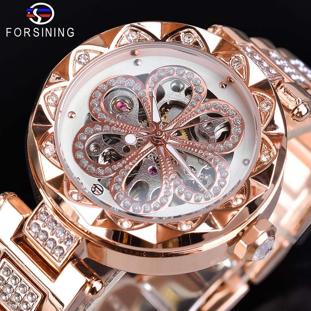 Forsining Top Brand Luxury Women Watch Fashion Diamond Female Watches Automatic Machanical Watch Waterproof Stylish Ladies Clock